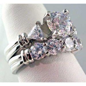 Round cut Wedding Ring set Trillion Accents .925